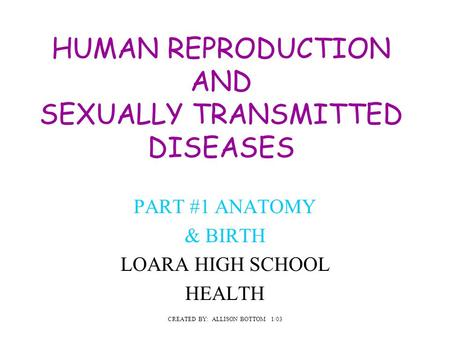 HUMAN REPRODUCTION AND SEXUALLY TRANSMITTED DISEASES PART #1 ANATOMY & BIRTH LOARA HIGH SCHOOL HEALTH CREATED BY: ALLISON BOTTOM 1/03.