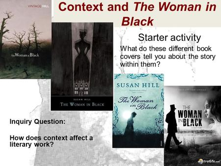 Context and The Woman in Black Inquiry Question: How does context affect a literary work? Starter activity What do these different book covers tell you.