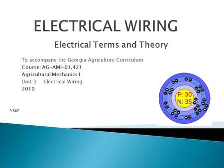 Electrical Terms and Theory To accompany the Georgia Agriculture Curriculum Course: AG-AMI-01.421 Agricultural Mechanics I Unit 3:Electrical Wiring 2010.