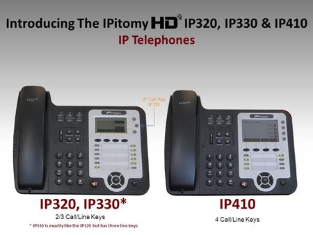 Introducing The IPitomy IP320, IP330 & IP410 IP Telephones IP410 2/3 Call/Line Keys 4 Call/Line Keys 3 rd Call Key IP330 IP320, IP330* * IP330 is exactly.