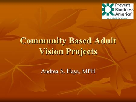 Community Based Adult Vision Projects Andrea S. Hays, MPH.