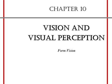 CHAPTER 10 Vision and visual perception Form Vision.