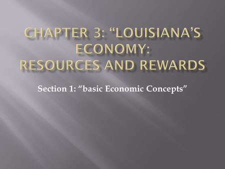 "Section 1: ""basic Economic Concepts""  Physical items such as food, clothing, cars, and houses. {Touch}"