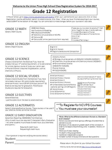 Grade 12 Registration GRADE 12 MATH Select 1 Math Course. GRADE 12 ENGLISH Select 1 English Course. GRADE 12 SCIENCE Choose a Science from the Electives.