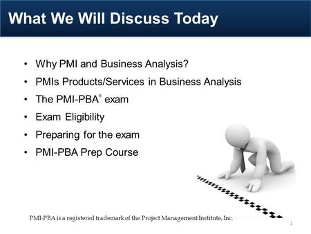 Why PMI and Business Analysis? PMIs Products/Services in Business Analysis The PMI-PBA ® exam Exam Eligibility Preparing for the exam PMI-PBA Prep Course.