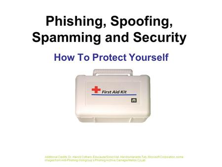 Phishing, Spoofing, Spamming and Security How To Protect Yourself Additional Credits: Dr. Harold Cothern, Educause/SonicWall, Hendra Harianto Tuty, Microsoft.
