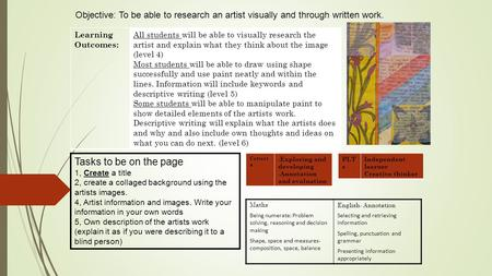 Objective: To be able to research an artist visually and through written work. Learning Outcomes: All students will be able to visually research the artist.