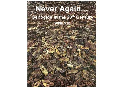 Never Again... Genocide in the 20 th Century WHII.11b.