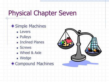 Physical Chapter Seven Simple Machines Levers Pulleys Inclined Planes Screws Wheel & Axle Wedge Compound Machines.
