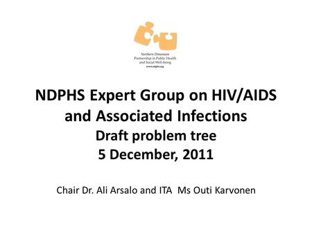 NDPHS Expert Group on HIV/AIDS and Associated Infections Draft problem tree 5 December, 2011 Chair Dr. Ali Arsalo and ITA Ms Outi Karvonen.
