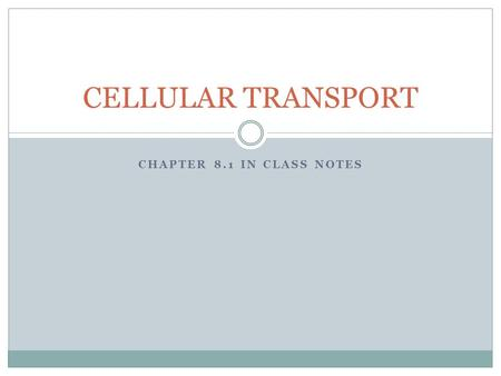 CHAPTER 8.1 IN CLASS NOTES CELLULAR TRANSPORT. Ask yourself this question Fact: All things in water are dissolved  Such as Salt (NaCl) Fact: Dissolved.