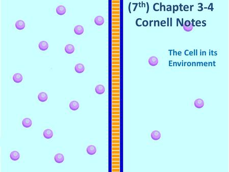 (7 th ) Chapter 3-4 Cornell Notes The Cell in its Environment.