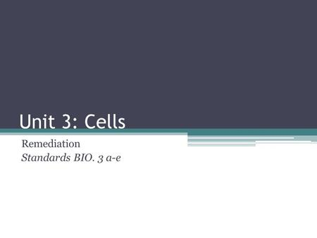 Unit 3: Cells Remediation Standards BIO. 3 a-e. Cell Theory + Microscopes Standard BIO. 3a.