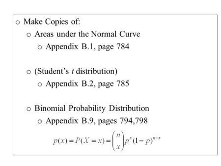 O Make Copies of: o Areas under the Normal Curve o Appendix B.1, page 784 o (Student's t distribution) o Appendix B.2, page 785 o Binomial Probability.