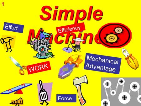 Simple Machines W O R K M e c h a n i c a l A d v a n t a g e Force Effort E f f i c i e n c y 1.