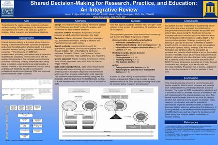Aim To synthesize the best available evidence on shared decision-making (SDM) resulting in the development of a comprehensive model to be used as a guide.