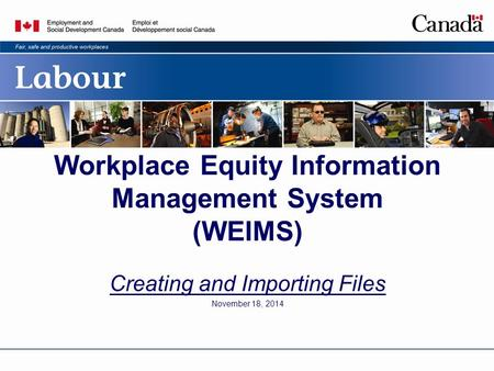 Workplace Equity Information Management System (WEIMS) Creating and Importing Files November 18, 2014.