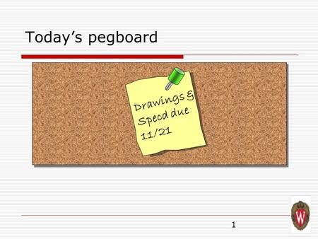 1 Today's pegboard Drawings & Specd due 11/21. 2 Today's pegboard Cirrious Tightpinch.