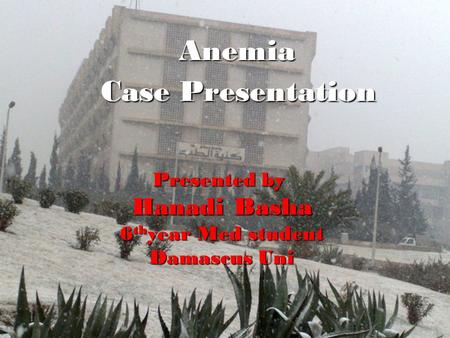 Anemia Case Presentation Presented by Hanadi Basha 6 th year Med student Damascus Uni.