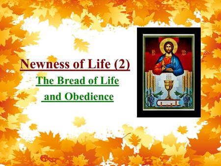 Newness of Life (2) The Bread of Life and Obedience.