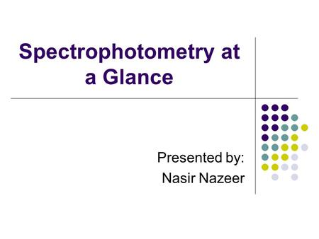 Spectrophotometry at a Glance Presented by: Nasir Nazeer.