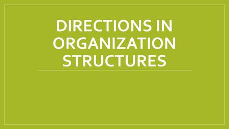 DIRECTIONS IN ORGANIZATION STRUCTURES. Recap. Team Structures…Any questions?