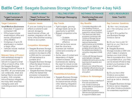 "Seagate Confidential Battle Card: Seagate Business Storage Windows ® Server 4-bay NAS THE BASICS Target Customers & Relevant Value KEEP IN MIND ""Need-To-Know"""