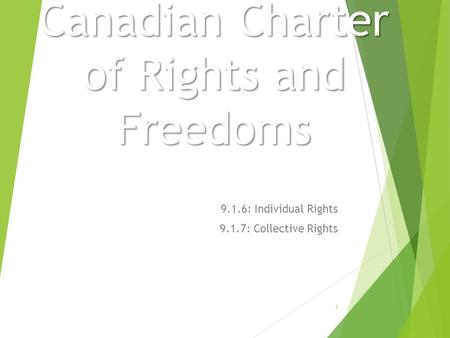 Canadian Charter of Rights and Freedoms 9.1.6: Individual Rights 9.1.7: Collective Rights 1.