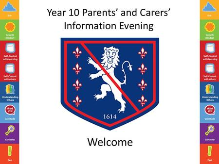 Year 10 Parents' and Carers' Information Evening Welcome.