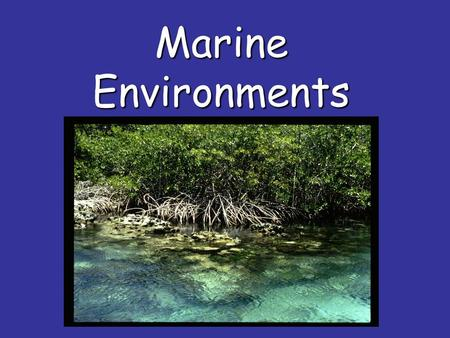 Marine Environments. The place or home in which an organism lives is called its habitat. The total surroundings are its environment.