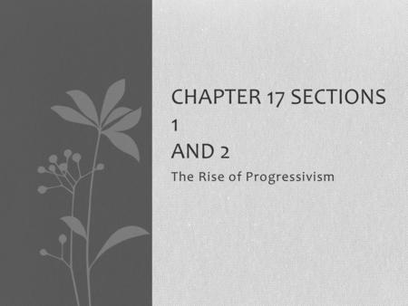 The Rise of Progressivism CHAPTER 17 SECTIONS 1 AND 2.