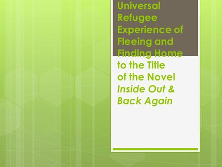 Connecting the Universal Refugee Experience of Fleeing and Finding Home to the Title of the Novel Inside Out & Back Again.