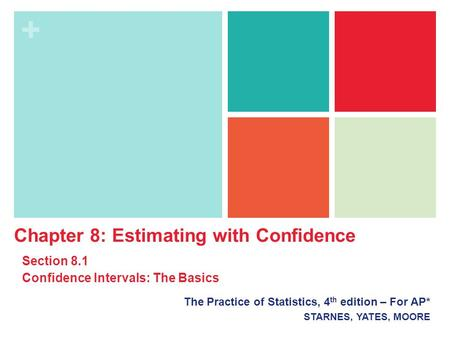 + The Practice of Statistics, 4 th edition – For AP* STARNES, YATES, MOORE Chapter 8: Estimating with Confidence Section 8.1 Confidence Intervals: The.