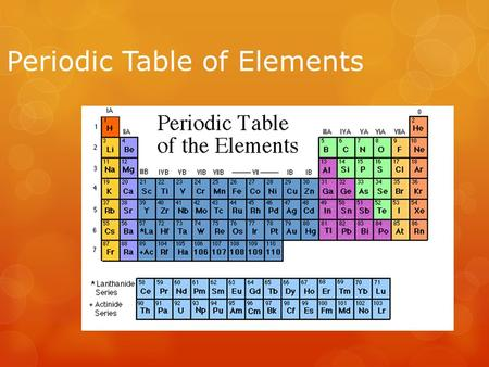 Periodic Table of Elements. The Periodic Table  The periodic table organizes the elements in a particular way. A great deal of information about an element.