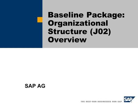 Baseline Package: Organizational Structure (J02) Overview SAP AG.