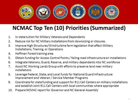 NCMAC Top Ten (10) Priorities (Summarized) 1.In state tuition for Military Veterans and Dependents 2.Reduce risk for NC Military Installations from downsizing.