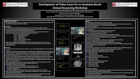 Development of Video Cases for an Anatomy-Based Clinical Reasoning Workshop 3.9% 23.5% 2.4% 14.6% PROBLEM STATEMENT We developed 6 video cases for an anatomy-based.