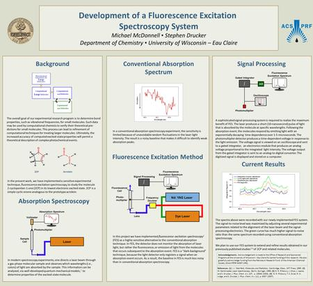 Development of a Fluorescence Excitation Spectroscopy System Michael McDonnell ▪ Stephen Drucker Department of Chemistry ▪ University of Wisconsin – Eau.