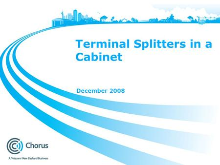 Terminal Splitters in a Cabinet December 2008. 2 Terminal Splitters in a Cabinet The purpose of this presentation is to share our findings around the.