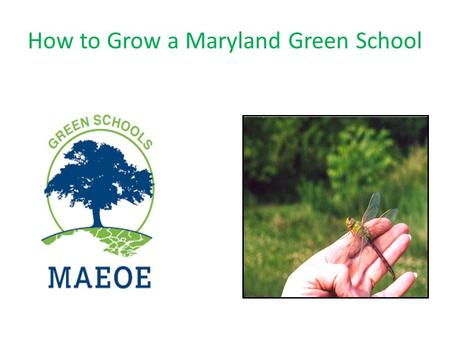 How to Grow a Maryland Green School. What is a Green School.