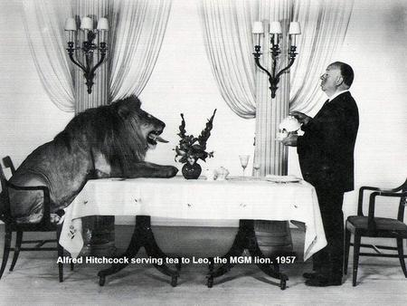 Alfred Hitchcock serving tea to Leo, the MGM lion. 1957.