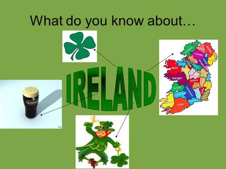 What do you know about…. IRELAND The green part represents the roman catholic community. The orange part represents the protestant community. The white.
