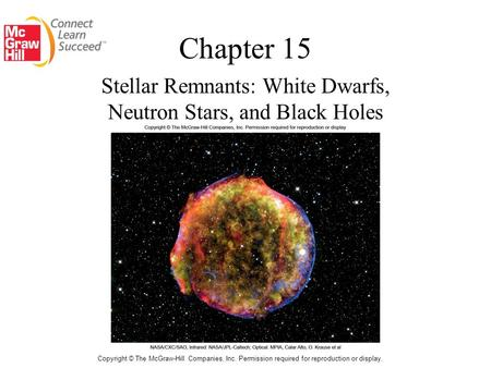Chapter 15 Stellar Remnants: White Dwarfs, Neutron Stars, and Black Holes Copyright © The McGraw-Hill Companies, Inc. Permission required for reproduction.