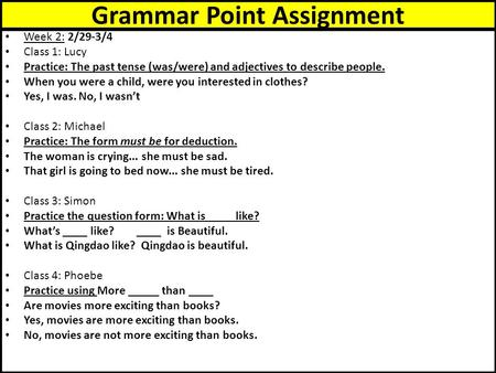Grammar Point Assignment