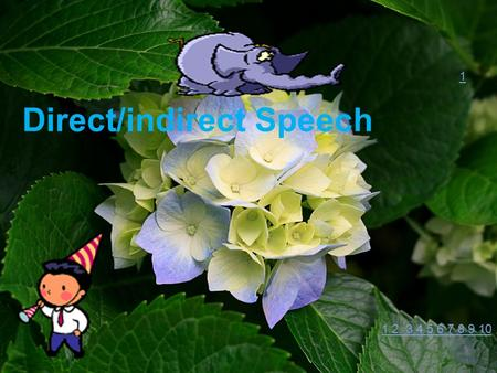 Direct/indirect Speech 1 1 2 3 4 5 6 7 8 9 10. (1) Direct speech Direct speech is used when written or spoken words are addressed directly. It uses a.