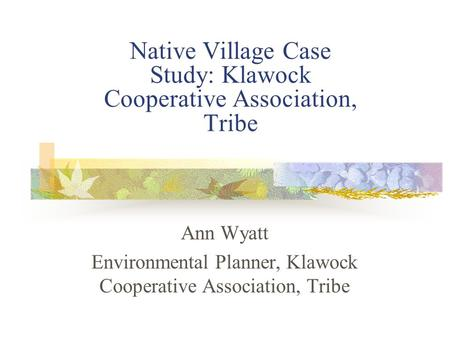 Native Village Case Study: Klawock Cooperative Association, Tribe Ann Wyatt Environmental Planner, Klawock Cooperative Association, Tribe.