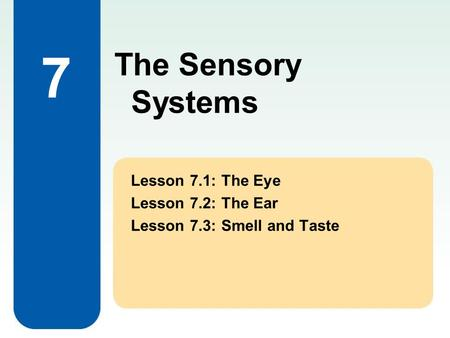 The Sensory Systems 7 Lesson 7.1: The Eye Lesson 7.2: The Ear Lesson 7.3: Smell and Taste.