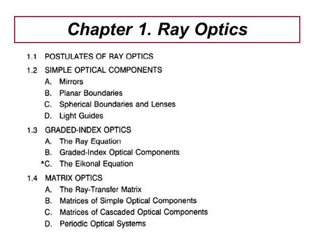 Chapter 1. Ray Optics.