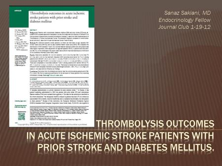 Sanaz Sakiani, MD Endocrinology Fellow Journal Club 1-19-12.