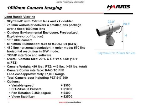 1 Harris Proprietary Information 1500mm Camera Imaging Long Range Viewing SkyCam-IP with 750mm lens and 2X doubler 750mm w/doubler delivers a smaller lens.
